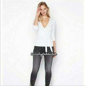 NWT Express V-Neck Black Sweater w/ Tie Waist (XS)